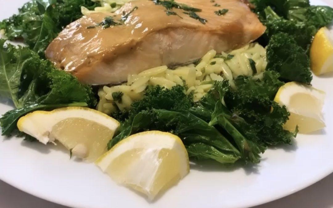 Glazed Salmon, Kale and Orzo