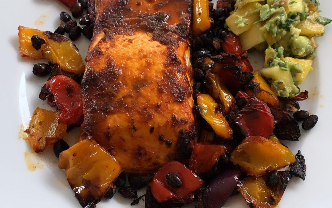 Roasted Salmon & Black Beans with Mango & Avocado Salsa